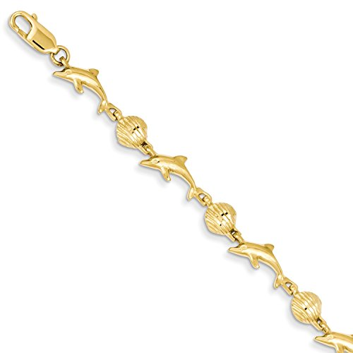 Roy Rose Jewelry 14K Yellow Gold Dolphin and Shell Bracelet ~ Length 7'' inches (Dolphin 7' Yellow Bracelet Gold)