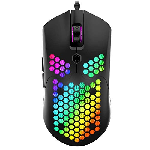 YIZAN RGB Lightweight Gaming Mouse 12000DPI Optical Sensor with Lightweight Honeycomb Shell Ultralight Ultraweave Cable