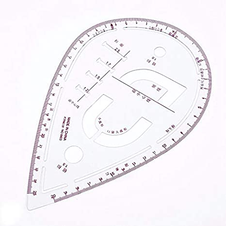 6Pcs//Set Ruler Tailor Measuring Kit Clear Sewing Drawing Ruler French Curve Set