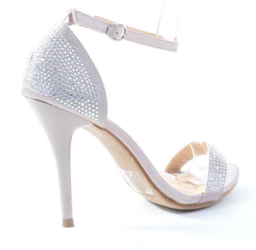 Fourever Funky Women's Synthetic Rhinestone Open Toe Ankle Strap Sandal Beige Sq32yUV0