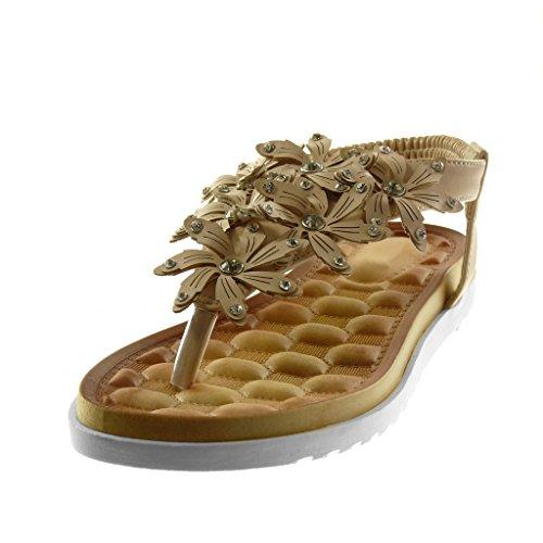 Angkorly Zapatillas Moda Sandalias Chanclas Correa Slip-On Suela de Zapatillas Mujer Flores Strass Tachonado Tacón Plano 2.5 cm Beige