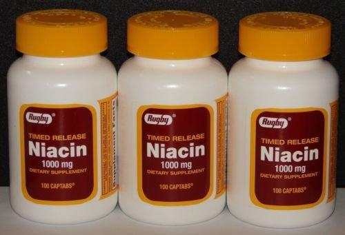 Регби Ниацин Временный релиз 1000 мг Таблетки - 3 Pack (3)