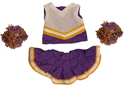 (Cheerleader Outfit Teddy Bear Clothes Fit 15 inch Build-A-Bear, Vermont Teddy Bears, American Girl Doll and Make Your Own Stuffed Animals (Purple And Gold))