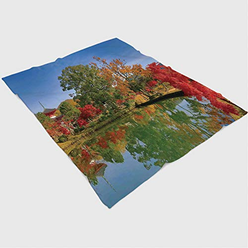 YOLIYANA Microfiber Throw Blanket Set/Perfect for Couch Sofa or Bed/49x78 inches/Home Decor,Japanese Garden with Colorful Trees Ancient Temple and Lake Landscape Zen Nature Peace Decor,Multi from YOLIYANA