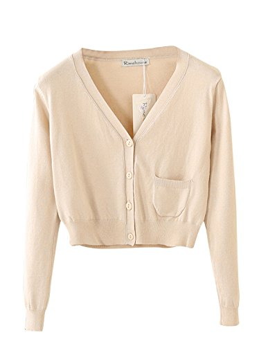 Longue V Femme Manche Boutons Pull Cardigans Abricot Casual Gilet Chandail Cardigan Col Avec Tricot PengGeng WqfPUIgx