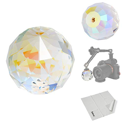 Selens 2.36in/6cm Photography Prism Crystal Ball1/4-20 Thread Optical Glass Prism Sphere for Photographer Kids Rainbow Maker Teaching Light Spectrum