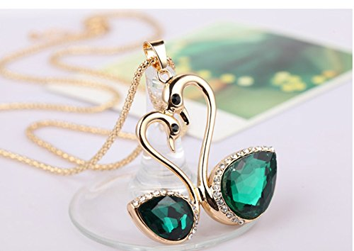 Female Charm Crystal Romantic Couple Green Swan Pendant Chain Gold Plated Long Sweater Necklace Crystal