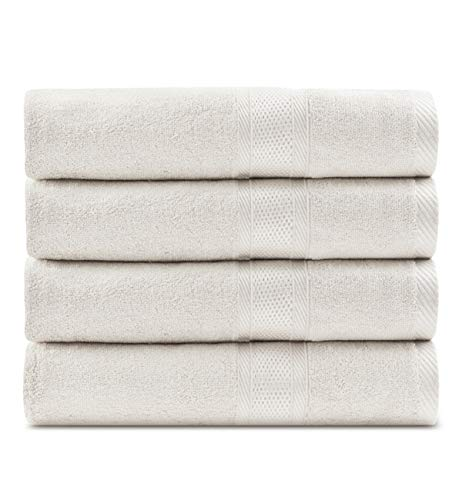 CC CAIHONG Organic Bamboo Natural Large Bath Towel Set - Soft, Ultra Absorbent and Eco-Friendly - (4 Pack 27 x 55 inch) - White ()