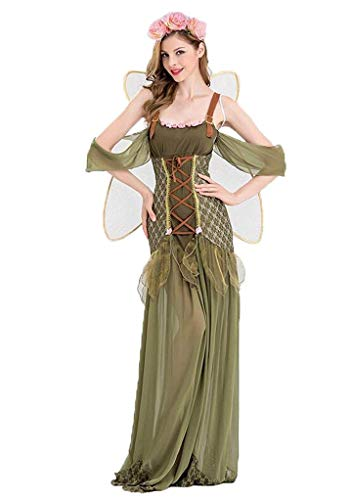 2018 New Angel Flower Fairy Dress Most Popular Classic Halloween Cosplay Costume Women Green Flower Fairy Princess Costumes (l) -