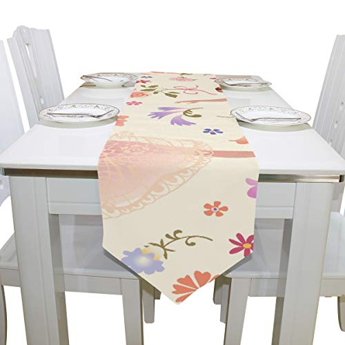 Dancing Ballerinas with Pink Glorious Rose Flower Dresser Scarf Cloth Cover Table Runner Tablecloth Place Mat Kitchen Dining Living Room Home Wedding Banquet Decor Indoor 13x90 ()