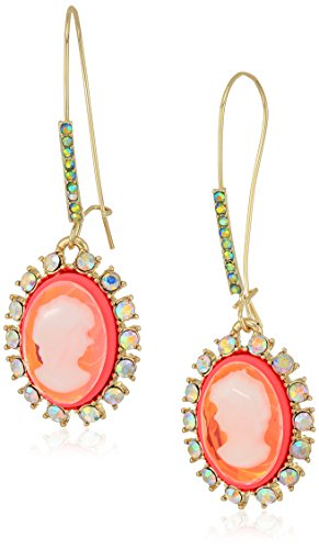 Betsey Johnson Womens Granny Chic Bright Pink Cameo Drop Earrings, One Size (Cameo Drop)