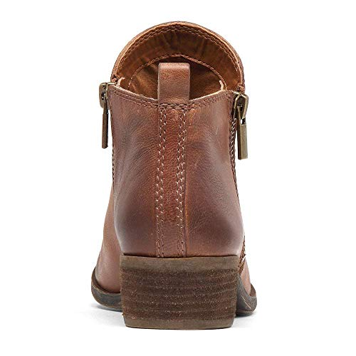 Zip Chunky Boots Leather Low Martin Heels Ankle Womens SNIDEL Brown Booties wCEqtBWOW
