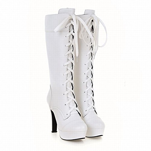 Latasa Femmes Lace Up Plate-forme Talons Hauts Bottes Blanches