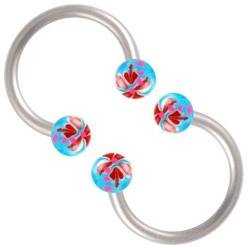 Horseshoe Glitter - bodyjewellery cartilage earring hoop 16 gauge nose ring stud 16g 3/8 2pcs septum horseshoe glitter ear piercing BEEI Set S15 Blue+Red