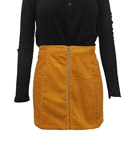 Womens Mini Straight a-line Corduroy Skirt with o-Ring Zipper on The Front (Yellow, X-Large)