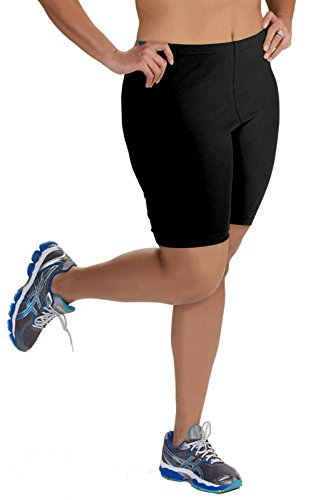 Women's Plus Size Cotton Bike Shorts - Black - (Bike Shorts Women Spandex)