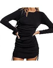Jurebecia Maxi Dresses for Women Stripe Solid Loose Long Sleeve Flowy Dress Elegant Midi Party Beach Swing Mini Dress