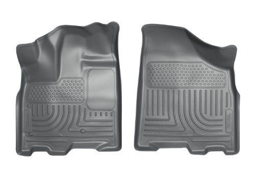 2012-2016 Ford F-250 Super Duty Crew Cab Pickup Vehicle has drivers side foot rest Vehicle not equipped with a Manual Transfer Case Shifter Husky Liners Front Floor Liners Weatherbeater Series - Grey