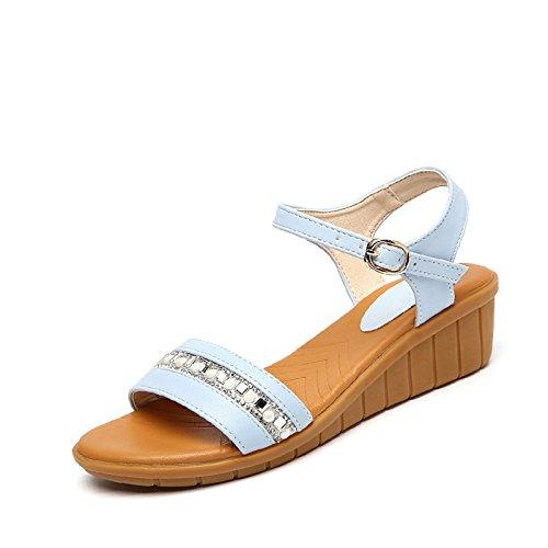 Moda Mujer verano sandalias confortables tacones altos,37 días azul Blue