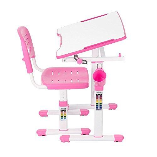 IKAYAA Height Adjustable Children Study Desk and Chair Set 0-40° Tiltable Art Kids Work Station Metal ()