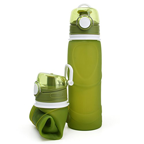 Collapsible Water Bottle 750ml Silicone Foldable Canteen with Leak Proof Valve, Medical Grade - 100% BPA Free