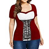 Women Vintage 1950s Retro Plus Size V Neck Lace Bandage Short Sleeves Tee Blouse Patchwork Shirt Red