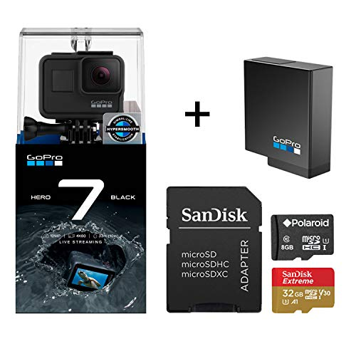 GoPro Hero 7 Black Action Camera + GoPro Battery + Sandisk 32GB MicroSDHC U3 and Polaroid 8GB Memory Card