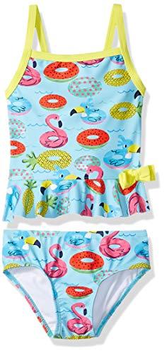 (Kiko & Max Toddler Girls' Tankini Bathing Swim Suit, Turquoise Floties, 4T)