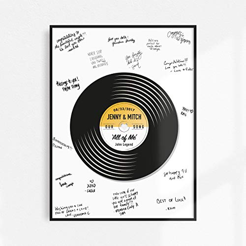 Customizable Wedding Guest Book Alternative, Vinyl Record Guest Book, Music Wedding Guest Signing, Wedding Song Art Print, Bridal Shower, Wedding Keepsake ()