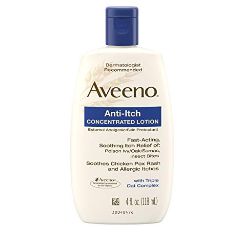 (Aveeno Anti-Itch Concentrated Lotion with Calamine and Triple Oat Complex, Skin Protectant for Fast-Acting Itch Relief from Poison Ivy, Insect Bites, Chicken Pox, and Allergic Itches, 4 fl. oz)