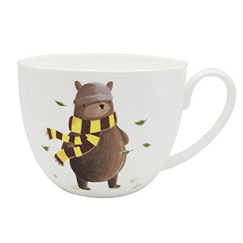 CHOOLD Cute Cartoon Bear Large Fine Bone China Coffee Mug Milk Cup Jumbo Mugs Soup Bowl Salad Bowl Noodle Bowl with Handle 20oz