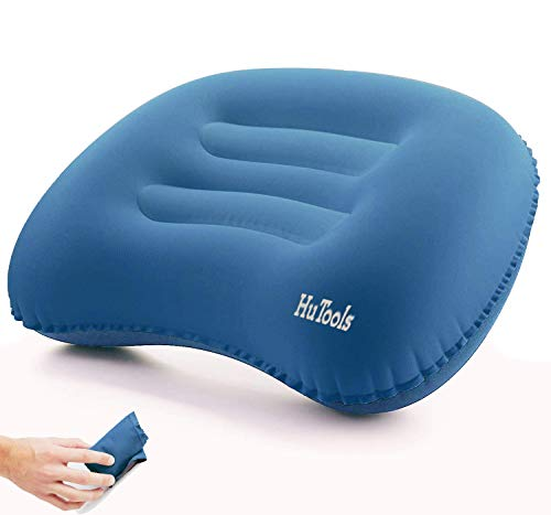 HuTools Inflatable Camping Pillow Backpacking Pillow Lightweight Compressible Travel Air Pillow Ultralight Ergonomic Pillow Portable for Camping Airplanes and Road Trips with Neck & Lumbar Support
