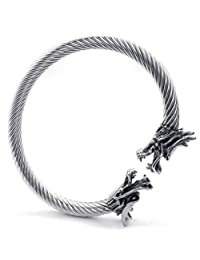 Konov Jewelry Stainless Steel Mens Bracelet, Gothic Dragon Cuff Bangle, Silver, with Gift Bag, C22864