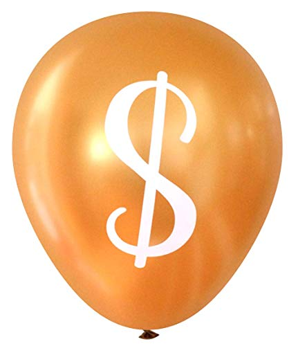 Nerdy Words Dollar Sign ($) Balloons - Gold, 16 pcs -