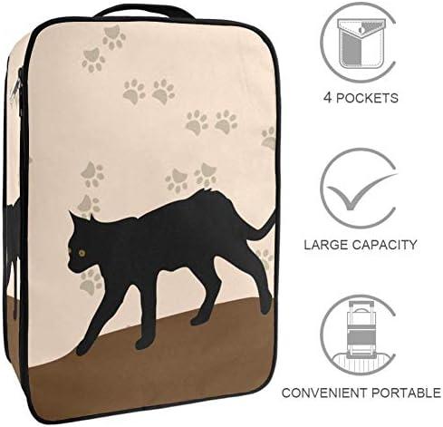 MYSTAGE シューズバッグ 靴箱 シューズケース シューズ袋 旅行収納ポーチ 二層式 靴入れ 小物収納 収納ケース アウドドア 出張 旅行 かわいい ペット 猫 足跡