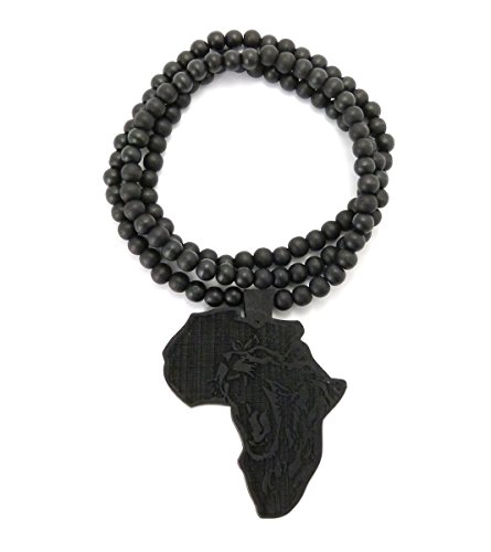 MENS AFRICA MAP WOOD LION AFRICAN WOODEN BEAD CHAIN NECKLACE (Black)