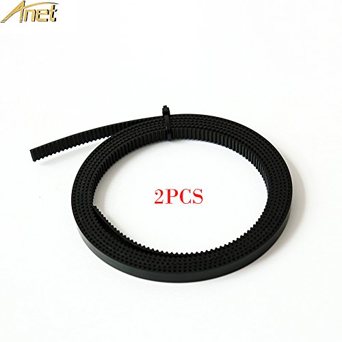 Anet 1.7 Meters GT2 Timing Belt 2mm Pitch 6mm Width PU Material with Steel Wire Fit for RepRap i3 3D Printer GT2-6mm Timing Belt CNC - 2PCS Black