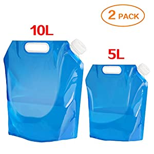 Aboat 2 Pack 5L/ 10L Water Carrier Folding Drinking Water Container, Outdoor Folding Water Bag Car Water Carrier Container for Sport Camping Hiking Picnic BBQ