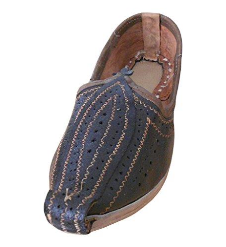 KALRA Creations Herren Traditionelle Handgemachte Leder indischen Designer Schuhe Schwarz