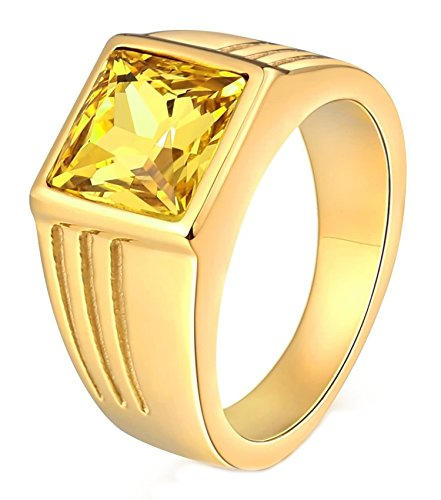 Aokarry Stainless Steel Ring for Men Father Class Ring CZ Stone Princess Cut 10MM Gold Yellow Size ()