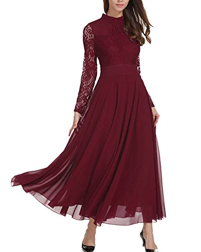 Aofur Women's Long Sleeve Chiffon Maxi Dresses Casual Floral Lace Evening Cocktail Party Long Dress (XXX-Large, Wine Red)