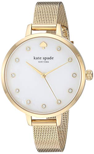 Bracelet Mesh Gold Watch - kate spade new york Women's Metro Quartz Watch with Stainless-Steel-Plated Strap, Gold, 10 (Model: KSW1491)