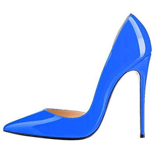Calaier Womens Cabecause Pekte Tå 12cm Stiletto Slip-on Pumper Sko Blå
