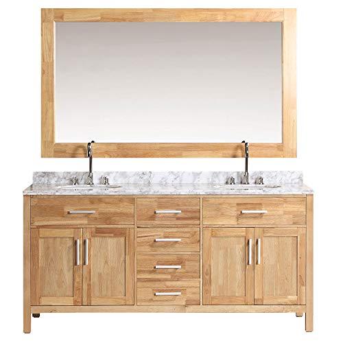 "Design Element DEC076B-O London 72"" Double Sink Vanity Set in Oak Finish inch"
