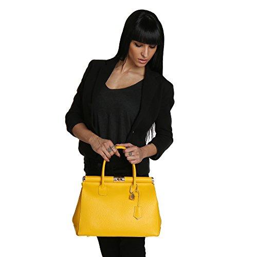 Chicca en Jaune épaule 35x28x16 à Cm Femme cuir Italie Sac main en Fabriqué Borse véritable avec 4prw40q