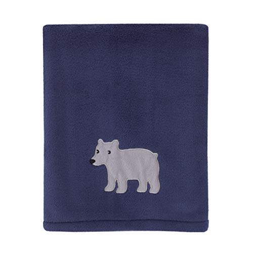 Carter's Explore Baby Bear Navy, Grey Super Soft Plush Coral Fleece Baby Blanket with Bear Applique, Navy, Grey,
