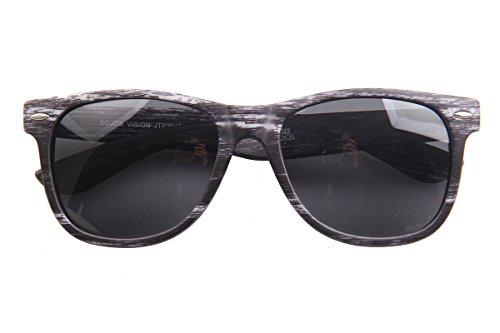 SojoS Wood Grain Brand Designer Rivets Wayfarer Sunglasses for Men with Grey Frame/Grey - Wood Sunglasses Grain
