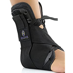 Ankle Brace Lifts and Supports Your Arch Comfortably using Reinforced Side Stabilizers with Straps and Adjustable Closures | Full Support Ankle Compression Sleeve by Athletica, Medium