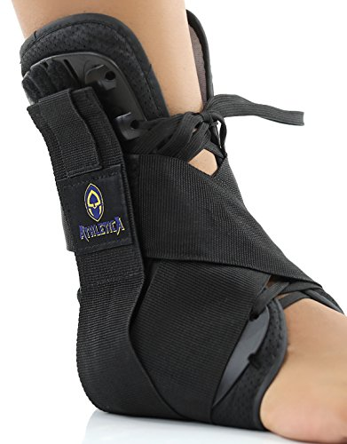 Ankle Brace Lifts and Supports Your Arch Comfortably using Reinforced Side Stabilizers with Straps and Adjustable Closures | Full Support Ankle Compression Sleeve by Athletica, Small