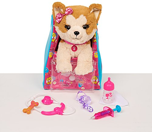 Barbie Vet Bag Set - Brown White 14' Puppy Plush with Pink Blue Backpack